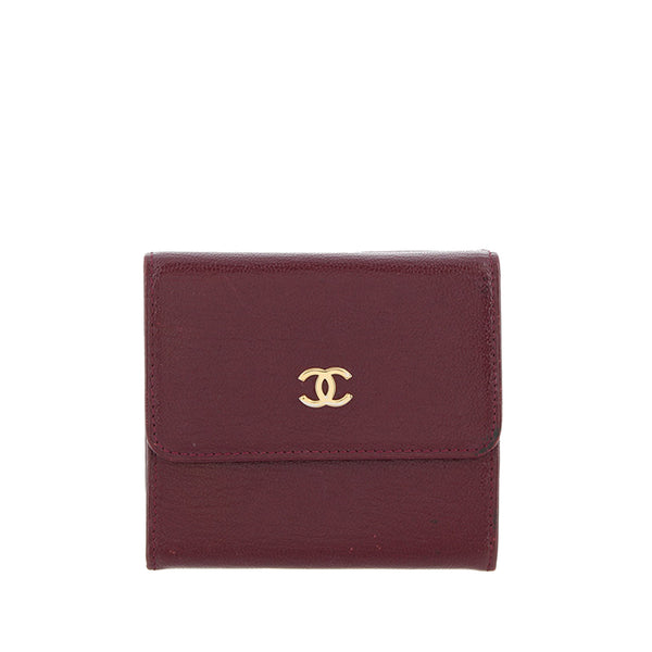 Burgundy Chanel CC Leather Wallet