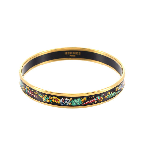 Black Hermes Cloisonne Bangle