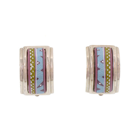 Silver Hermes Cloisonne Clip On Earrings