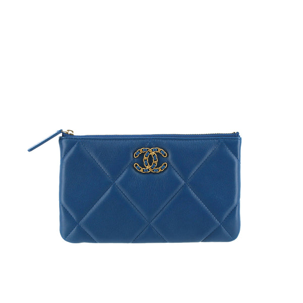 Blue Chanel Quilted Lambskin Leather Pouch