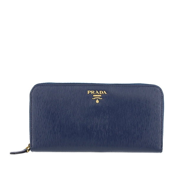 Blue Prada Saffiano Leather Long Wallet