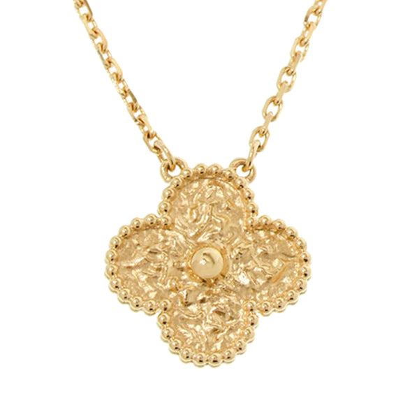Gold Van Cleef and Arpels 18K Alhambra Pendant Necklace