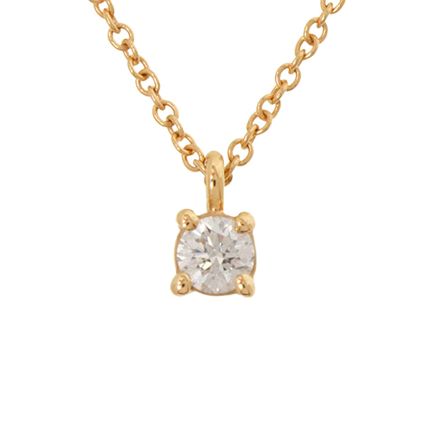 Gold Tiffany 18K Solitaire Diamond Pendant Necklace