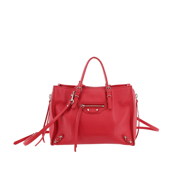 Red Balenciaga Papier A4 Leather Satchel Bag