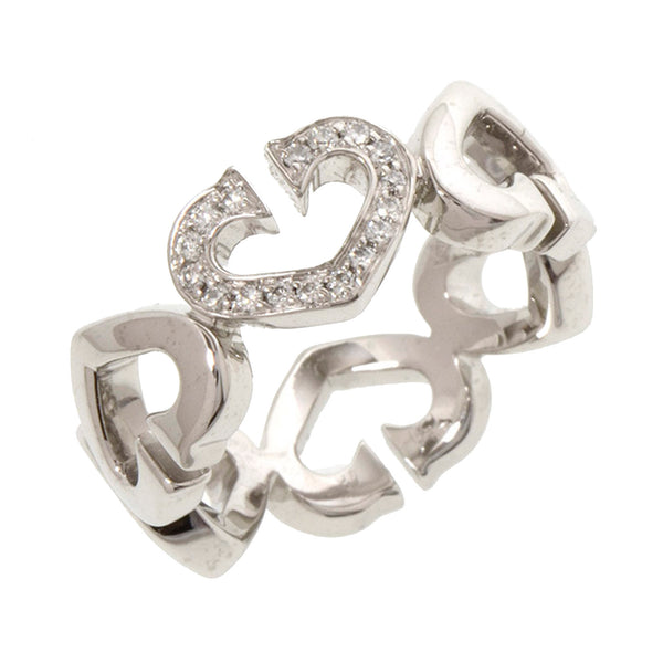 Silver Cartier Diamond C de Cartier Heart Ring