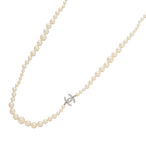 White Chanel CC Faux Pearl Necklace