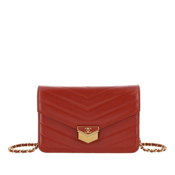 Red Chanel Chevron Leather Wallet on Chain
