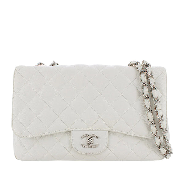 White Chanel Jumbo Classic Caviar Leather Flap Bag