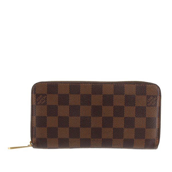 Brown Louis Vuitton Damier Ebene Zippy Wallet