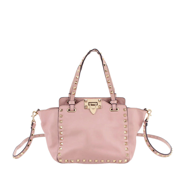 Pink Valentino Rockstud Leather Satchel Bag