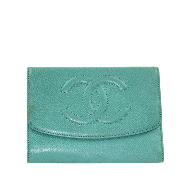 Blue Chanel CC Caviar Leather Wallet