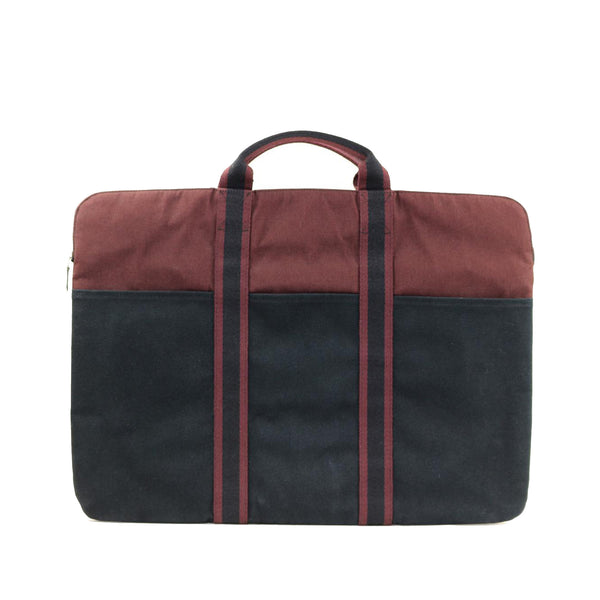 Black Hermes Fourre Tout Canvas Briefcase Bag