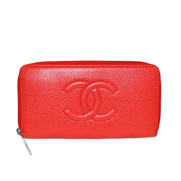 Red Chanel CC Caviar Leather Zip Around Long Wallet