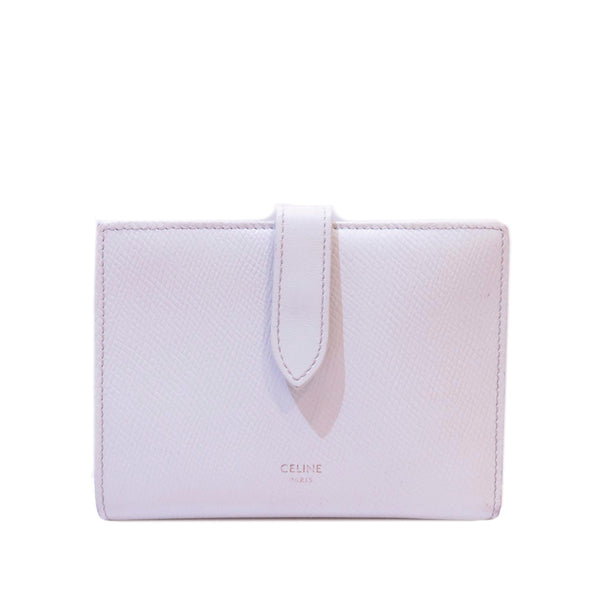 White Celine Multifunction Strap Leather Wallet