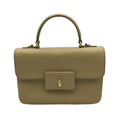 Brown Prada Saffiano Lux Satchel Bag