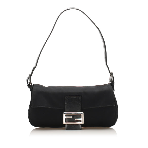 Black Fendi Canvas Baguette