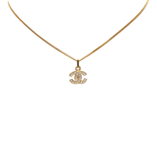 Gold Chanel CC Rhinestone Pendant Necklace