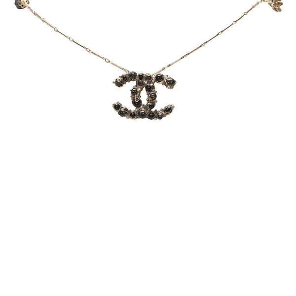 Gold Chanel CC Pendant Necklace