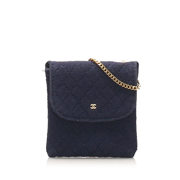 Blue Chanel Mini CC Timeless Satin Shoulder Bag