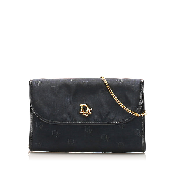 Black Dior Chain Nylon Shoulder Bag