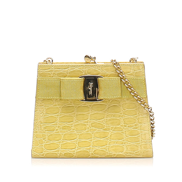 Yellow Ferragamo Vara Leather Wallet On Chain Bag