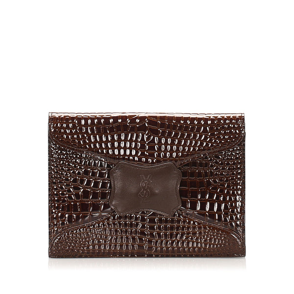 Brown YSL Embossed Patent Leather Clutch Bag