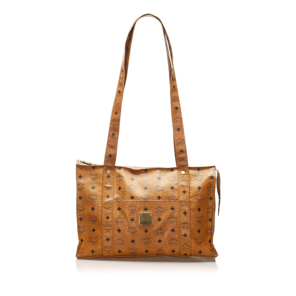 Tan MCM Visetos Leather Tote Bag