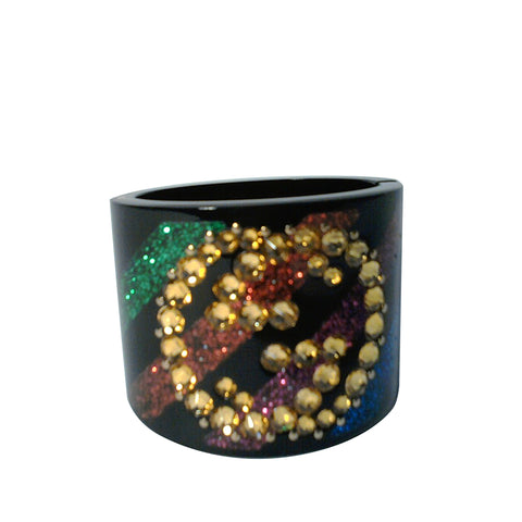 Black Gucci Interlocking G Crystal Bangle