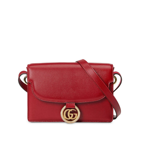 Red Gucci GG Leather Flap Shoulder Bag