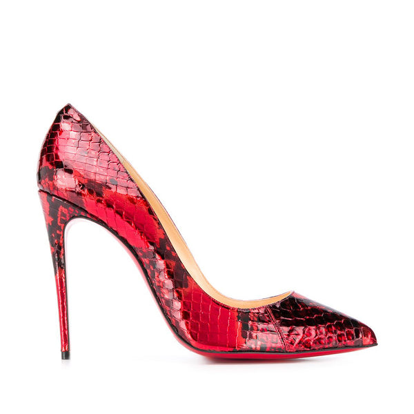 Red Christian Louboutin Decollete Python Leather Pumps