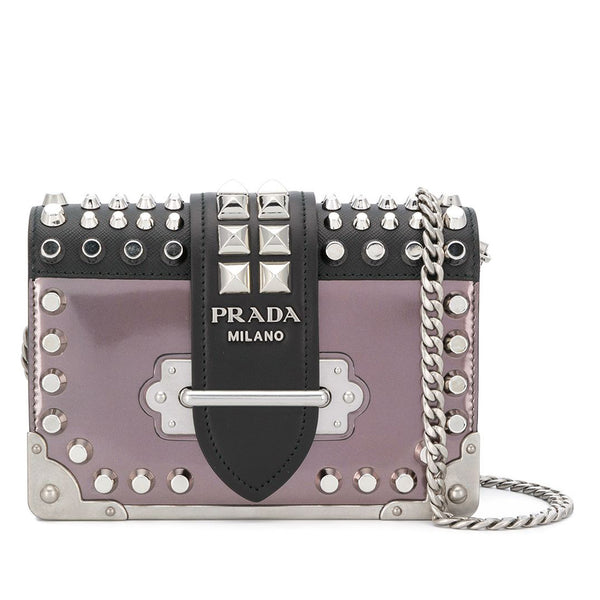 Purple Prada Studded Cahier Crossbody Bag