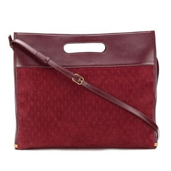 Red YSL Monogram Sac de Jour Satchel Bag