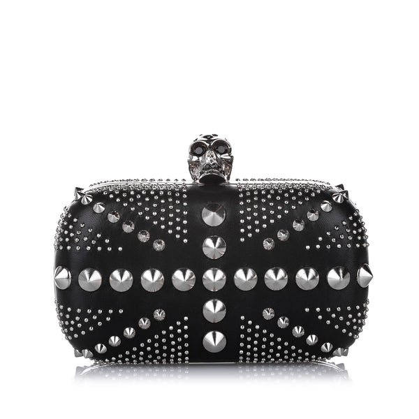 Black Alexander McQueen Studded Britannia Skull Leather Clutch Bag
