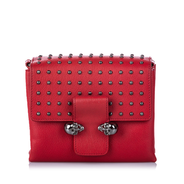 Red Alexander McQueen Studded Leather Twin Skull Crossbody Bag