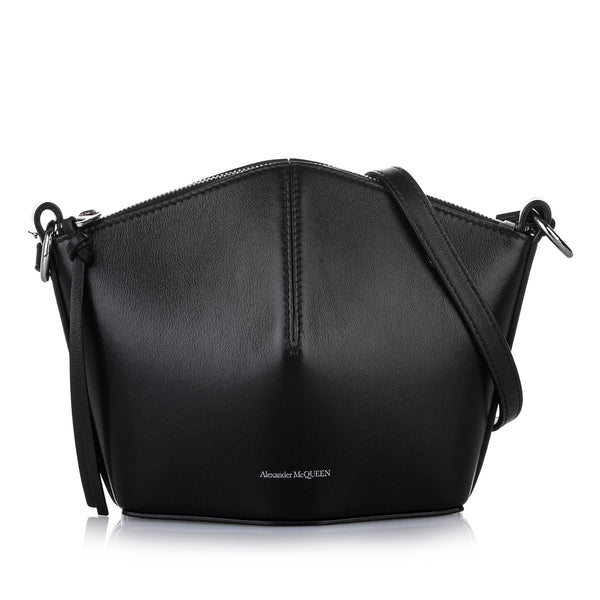 Black Alexander McQueen Mini Bucket Leather Crossbody Bag
