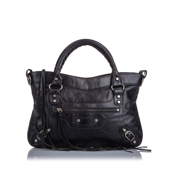 Black Balenciaga Leather Motocross Classic City Satchel Bag