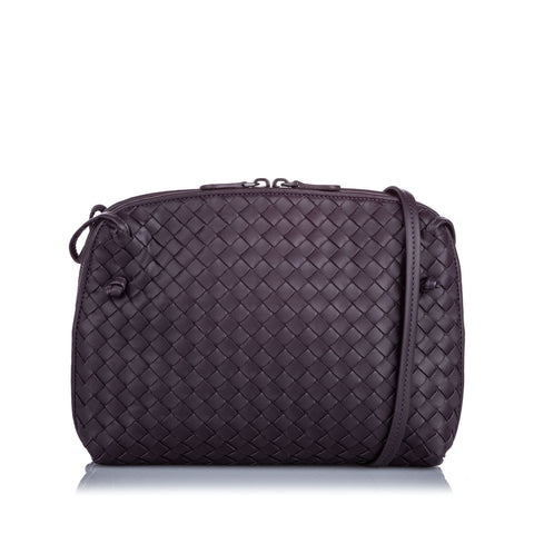 Brown Bottega Veneta Intrecciato Nodini Crossbody Bag
