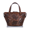 Brown Bottega Veneta Paisley Checker Tambura Leather Satchel Bag