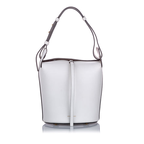 White Burberry Small Leather Bucket Bag
