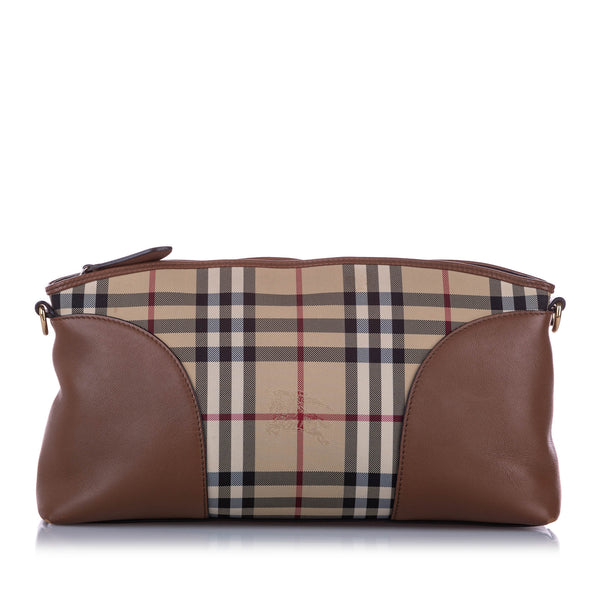 Brown Burberry Haymarket Check Canvas Crossbody Bag