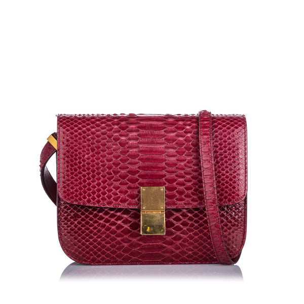 Red Celine Small Python Classic Box Bag