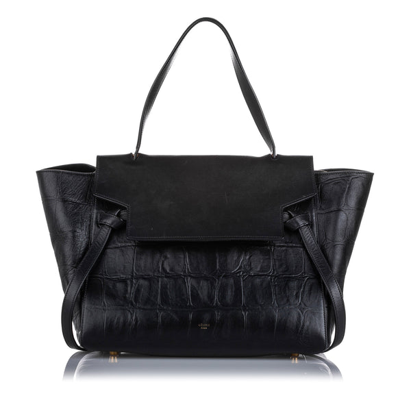 Black Celine Small Croc Embossed Belt Bag