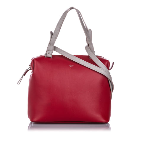 Red Celine Small Soft Cube Leather Satchel Bag