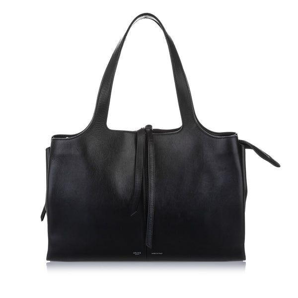 Black Celine Medium Trifold Leather Tote Bag