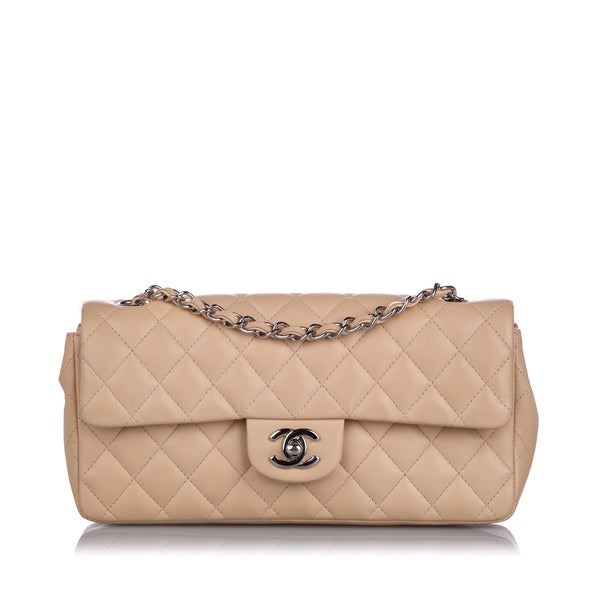 Brown Chanel East West Classic Single Flap Bag