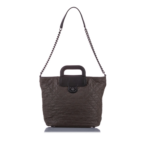 Brown Chanel Matelasse Leather Satchel Bag