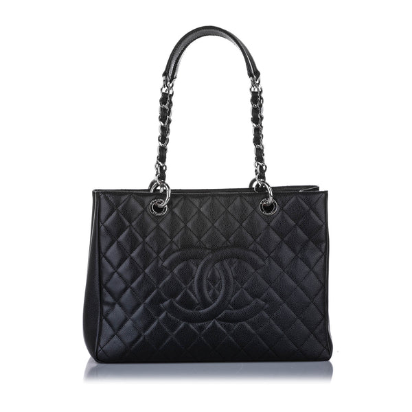 Black Chanel Caviar Grand Shopping Tote Bag