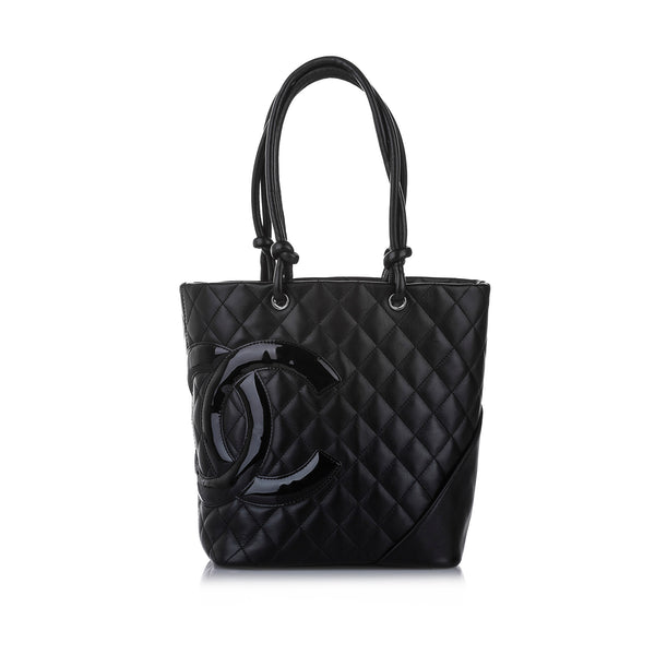 Black Chanel Cambon Ligne Lambskin Leather Tote Bag