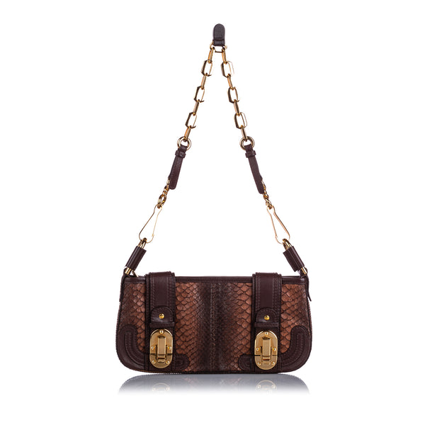 Brown Chloe Python Leather Baguette