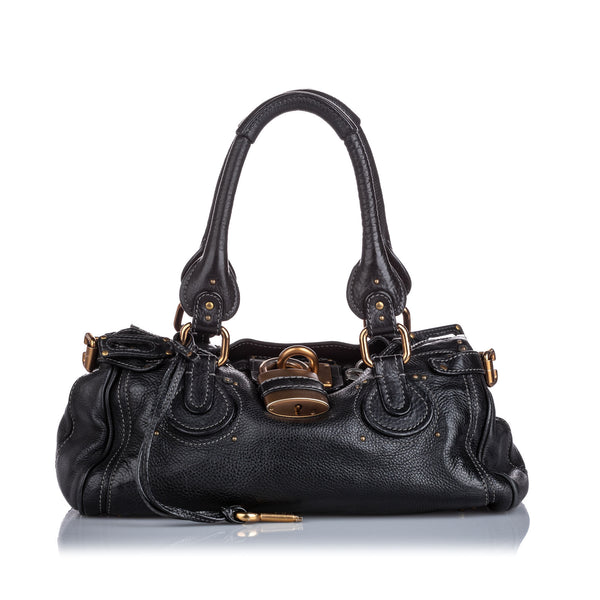 Black Chloe Leather Paddington Handbag Bag